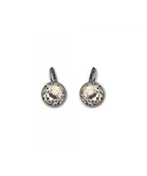 Swarovski Bella Pierced Earrings, Gray, Ruthenium Plating