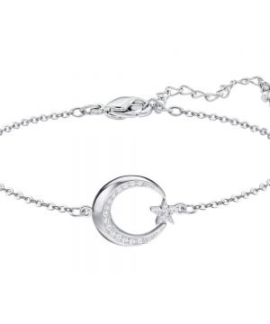 Swarovski Crescent and Star Bracelet, White, Rhodium plating
