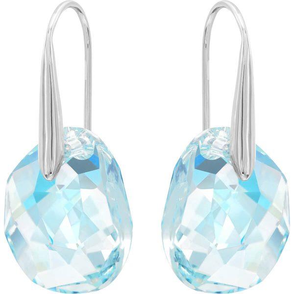 Swarovski Galet Pierced Earrings, Blue, Rhodium Plating