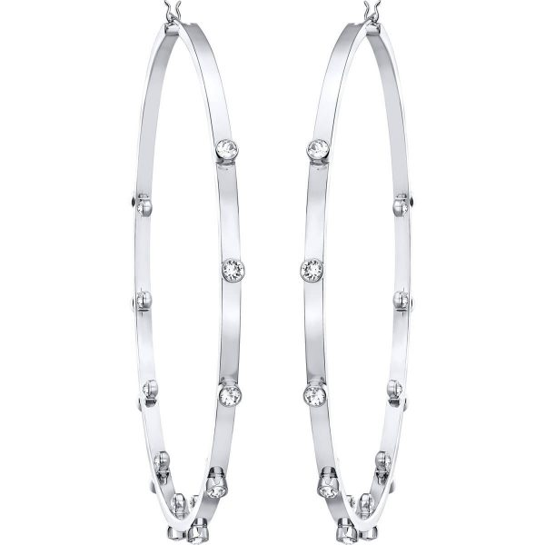 Swarovski Genna Hoop Pierced Earrings, White, Rhodium Plating