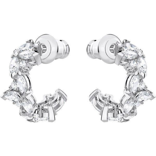 Swarovski Lady Hoop Pierced Earrings, White, Rhodium plating