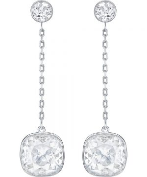 Swarovski Lattitude Chain Pierced Earrings, White, Rhodium plating