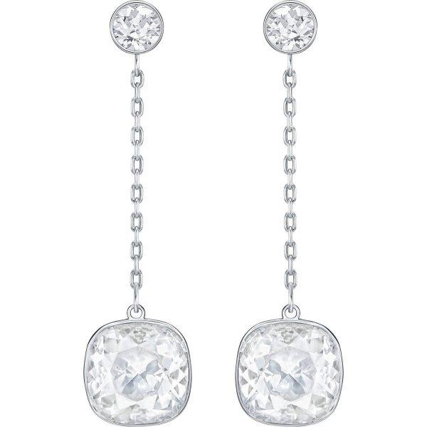 Swarovski Lattitude Chain Pierced Earrings, White, Rhodium plating