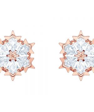 Swarovski Magic Pierced Earrings, White, Rose gold plating