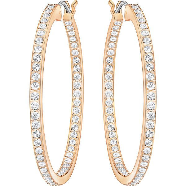 Swarovski Sommerset Hoop Pierced Earrings, Medium, White, Rose Gold Plating