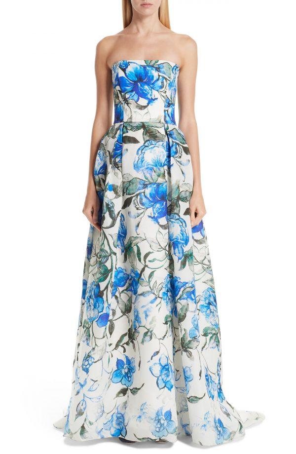 Women's Carolina Herrera Floral Strapless Silk Evening Dress, Size 6 - Ivory