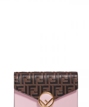 Women's Fendi Logo Calfskin Leather Wallet On A Chain - Pink