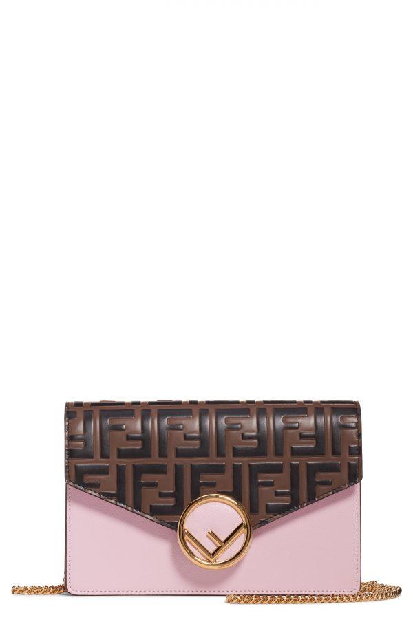 Women's Fendi Logo Calfskin Leather Wallet On A Chain - Pink