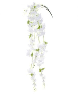 "55"" White Hanging Artificial Flower Branch - 12 Branches"