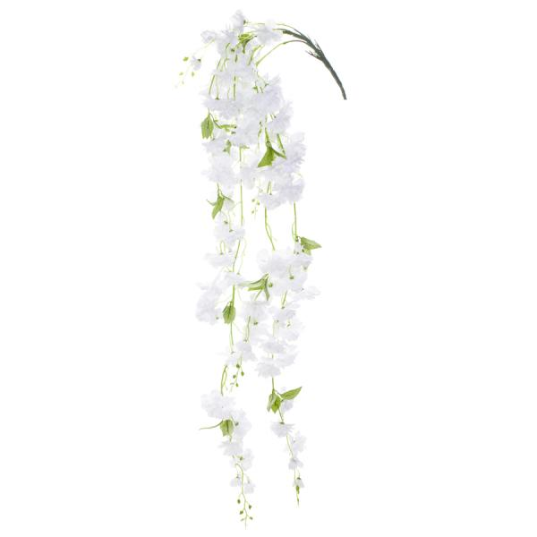 """55"""" White Hanging Artificial Flower Branch - 12 Branches"""