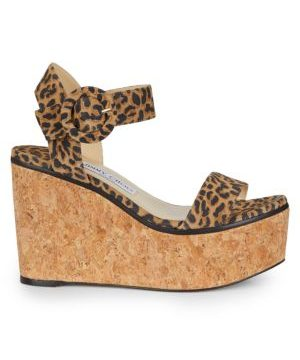 Abigail Leopard-Print Leather Cork Wedge Sandals