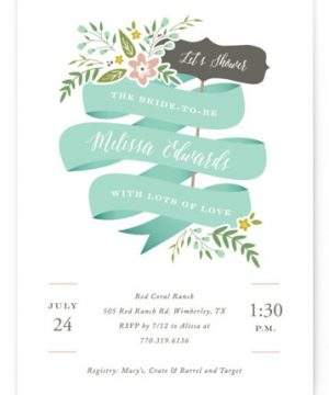 Adorned Ribbon Bridal Shower Invitations