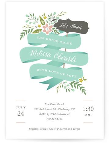 Adorned Ribbon Bridal Shower Invitations