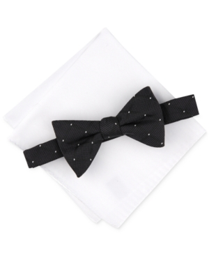Alfani Men's Dot Gird Bow Tie & Solid Pocket Square Set, Created for Macy's