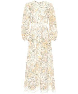 Amelie floral linen midi dress