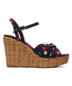 Anita Cherry-Print Satin & Raffia Wedge Sandals
