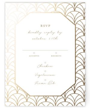 Art Deco Foil-Pressed RSVP CardsP Cards