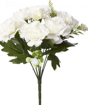 Artificial Carnation Flower Bunch - 48 Pieces - White