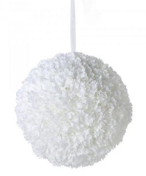 """Artificial Dahlia Flower Ball 14"""" - White - 6 Pieces"""