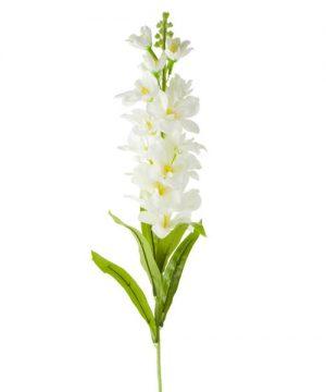 Artificial Delphnium Flower Bunch w/ Leaves - 24 Pieces - White