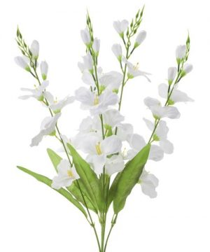 "Artificial Flower Stem w/ Greenery - 29"" - 24 Pieces - White"