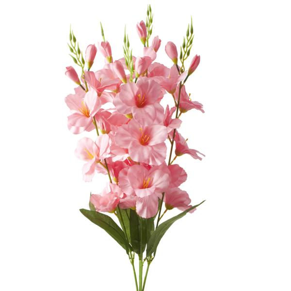 Artificial Flower w/ Greenery Stem - 24 Pieces - Pink