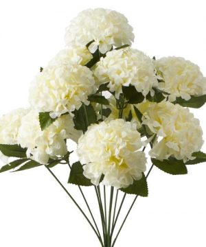 "Artificial Hydrangea Flower Bunch - 20"" - 24 Bunches - Ivory"