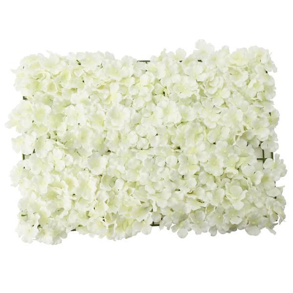 """Artificial Hydrangea Flower Mat - 16"""" x 24"""" - 12 Pieces - Ivory"""