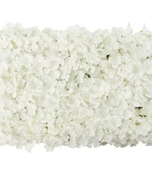 "Artificial Hydrangea Flower Mat - 16"" x 24"" - 12 Pieces - White"