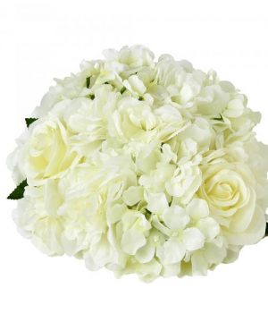 "Artificial Hydrangea Rose Mix Half Ball 10½"" - 24 Pieces - White"
