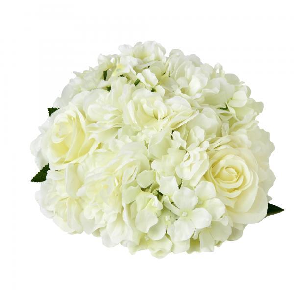 "Artificial Hydrangea Rose Mix Half Ball 10½"" - 24 Pieces - White"