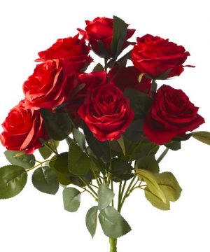 "Artificial Rose Bouquet 17½"" - 18 Pieces - Red"