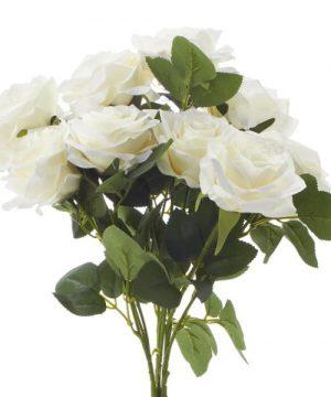 """Artificial Rose Bouquet 17½"""" - 18 Pieces - White"""