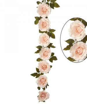 "Artificial Rose Cane Garland 74"" - Blush - 2 Pieces"