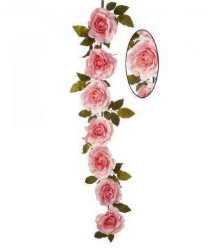 "Artificial Rose Cane Garland 74"" - Pink - 2 Pieces"