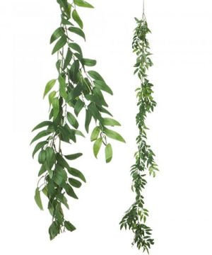 "Artificial Weeping Willow Garland 72"" - Green - 24 Pieces"