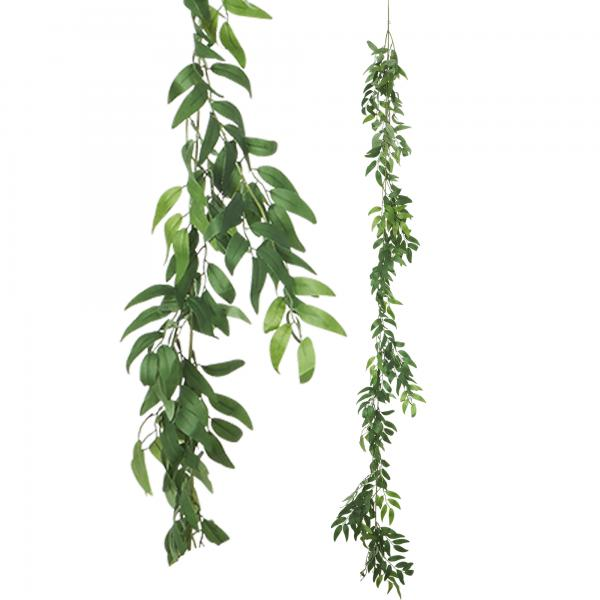 """Artificial Weeping Willow Garland 72"""" - Green - 24 Pieces"""