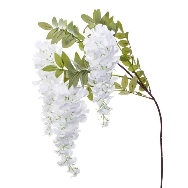 """Artificial Wisteria Flower Stem w/ Greenery - 39"""" - 48 Pieces - White"""