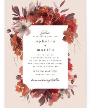 Autumn Hymnal Foil-Pressed Wedding Invitations