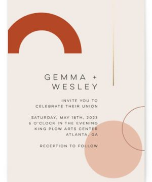 Bauhaus Shapes Foil-Pressed Wedding Invitations