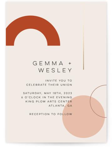 Bauhaus Shapes Foil-Pressed Wedding Invitations