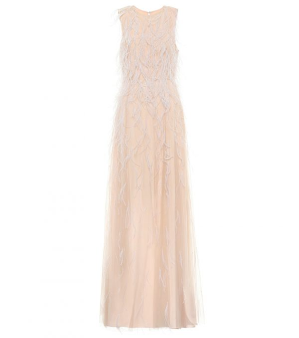 Berg feather-trimmed bridal gown