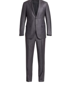 Berry Pane Wool Textured Suit