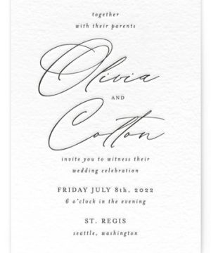 Black Tie Option Letterpress Wedding Invitations