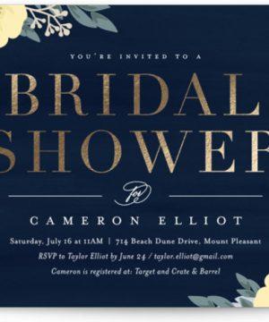 Blooming Shower Foil-Pressed Bridal Shower Invitations
