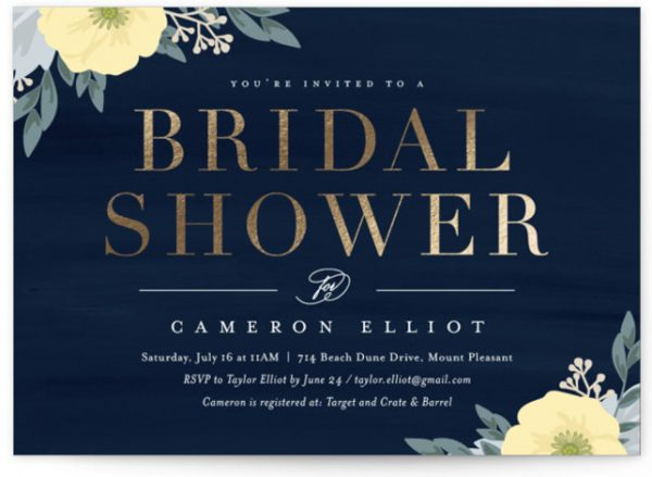 Blooming Shower Foil-Pressed Bridal Shower Invitations