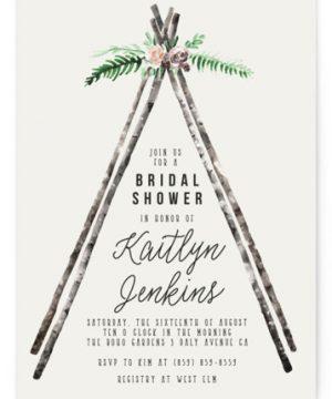 Boho Teepee Bridal Shower Invitations