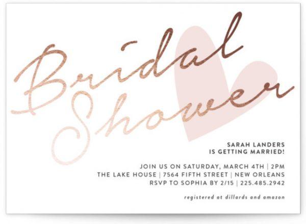 Bridal Heart Foil-Pressed Bridal Shower Invitations