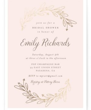Bridal Wreath Foil-Pressed Bridal Shower Invitations