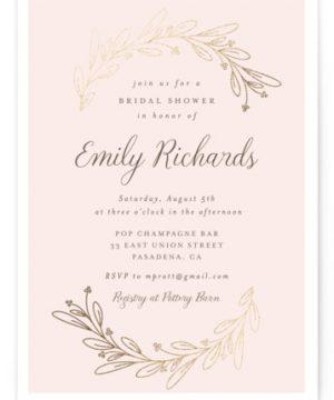 Bridal Wreath Foil-Pressed Bridal Shower Invitations